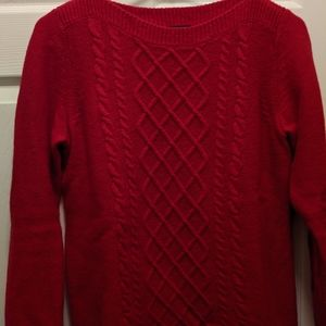 Talbot's Red Jewel Neck Marino Wool & Cashmere PS